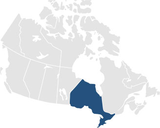Map of Canada with Ontario highlighted
